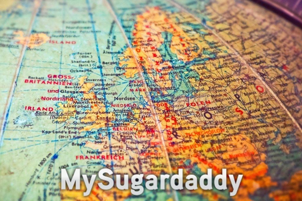 Eine Landkarte als Symbol einer Fernbeziehung. Zu sehen ist ein Abschnitt von Europa mit den verschiedenen Städten.